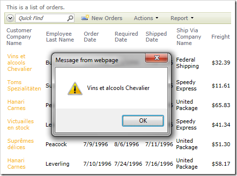 Alert displaying the Customer Company Name of the data being selected.