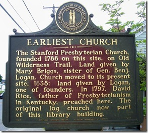 Earliest Church marker in Stanford, KY (Click any photo to Enlarge)