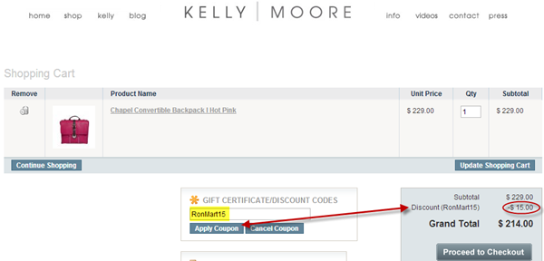 Kelly Moore Bag Discount Code