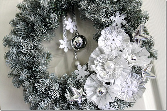 Winter wreath--silver pine wreath with silver flowers and snowflakes