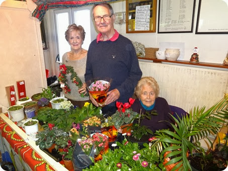 Plant stall -l-r Catherine Dobson - Herbert Rowsell - Irene Houston