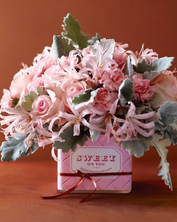 Wrap your vase to look like a box of chocolate for an especially delectable centerpiece.