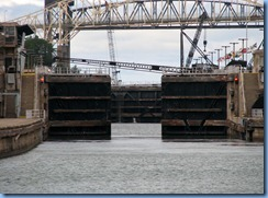 4956 Michigan - Sault Sainte Marie, MI -  St Marys River - Soo Locks Boat Tours - MacArthur Lock, lock gates and safety boom opening
