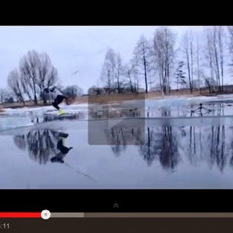 Wakeboard σε μια παγωμένη λίμνη.