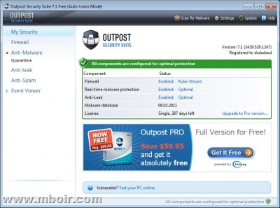 Outpost Internet Security Suite - mboir