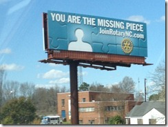 Rotary Billboard on Approach to Downtown Durham