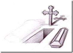 Mormantul si sicriul desen in creion