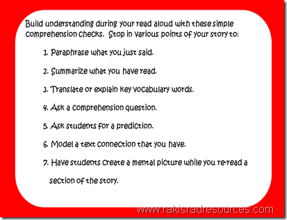 Build understanding during your read aloud with these simple comprehension checks