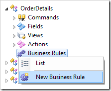 New Business Rule context menu option for OrderDetails controller in the Project Explorer.