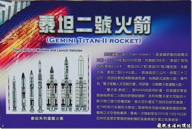 嘉義北迴歸線。泰坦二號火箭的解說。