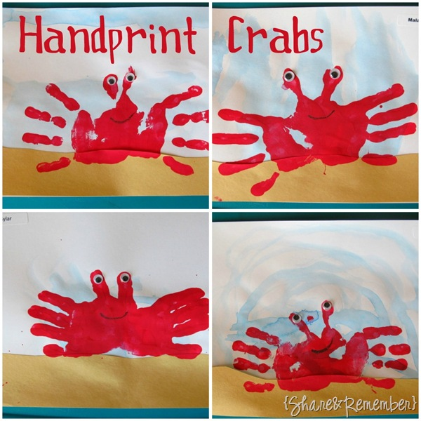 Handprint Crabs Preschool Craft Ocean Theme