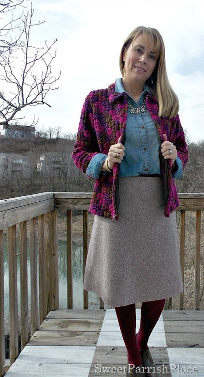 Vintage jacket, denim shirt, wool skirt, marsala tights, brown booties3