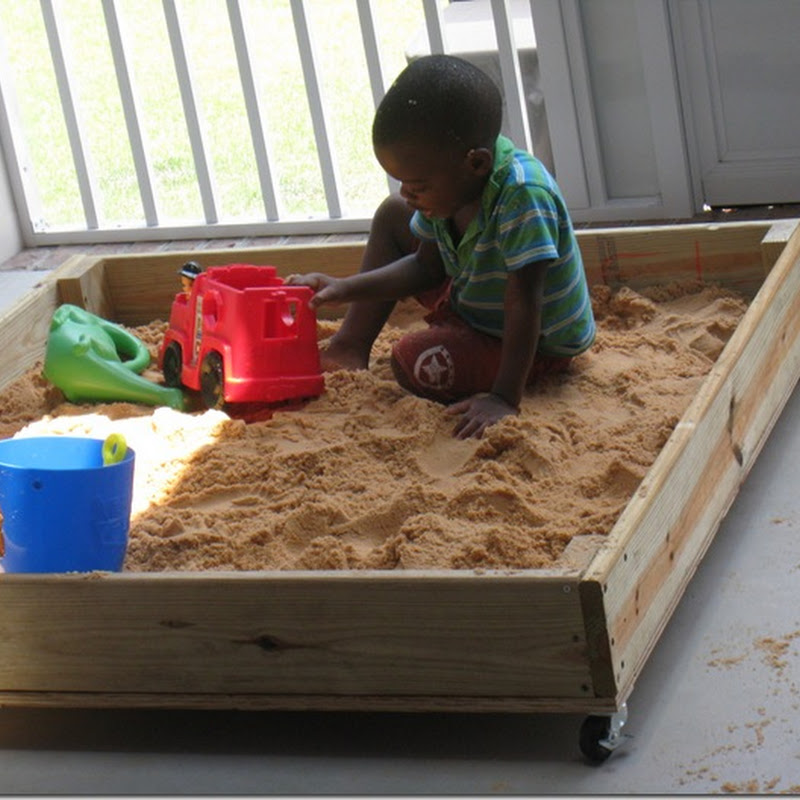 Zion's Homemade Sandbox on Wheels.