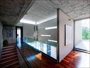 interior casa moderna hormigon y madera