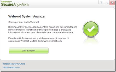 Webroot System Analyzer avvio analisi del sistema