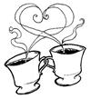 desenho traço ou risco de xícara de café com coração para imprimir e colorir em pano de prato  produzido no www.desenhospaintcolor.com.br