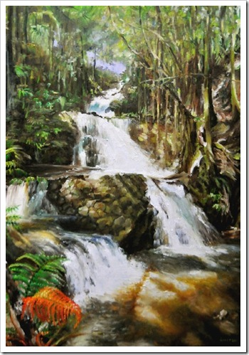 hawaii waterfall painting