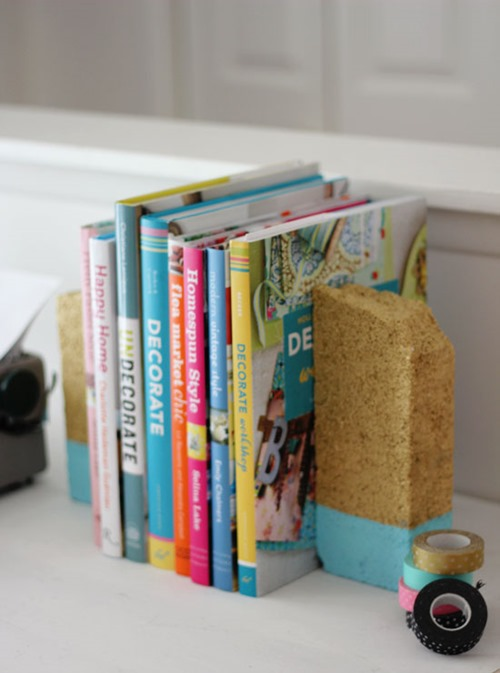 cheap craft diy paint dipped brick bookends