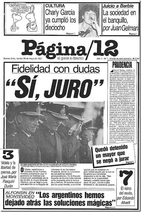 Página12 primera edición del 26 de mayo de 1987