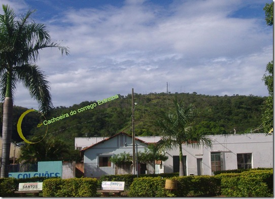 localização da cachoeira do corrego Extrema, a parti da Praça Julio Carneiro - Brasilândia de Minas