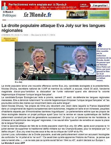 Eva Joly Le Monde 280811