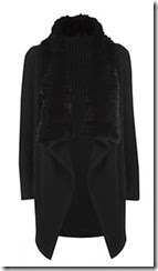 Theory Black Fur Collar Cardigan