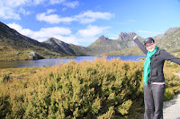 Kristy at Dove lake, with Cradle mountain in the background