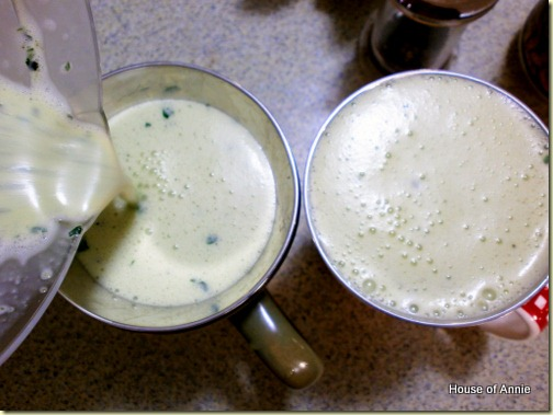 Pouring basil pesto panna cotta