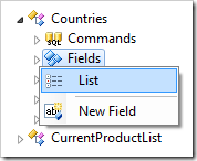 Show List of all Fields in the Countries controller.