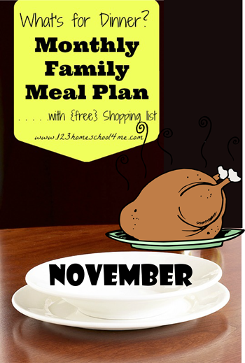 November Family Meal Plan with Free shopping list