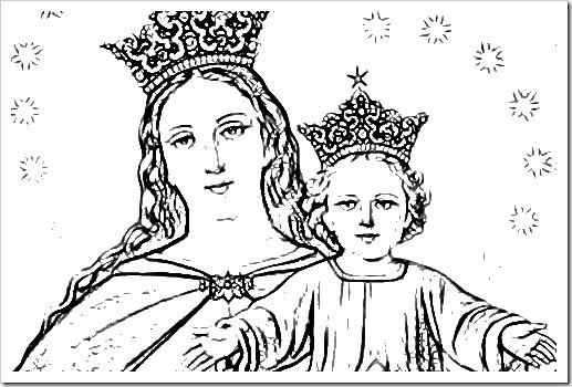 dibujo para pintar Virgen María auxiliadora, dibujo para colorear ...