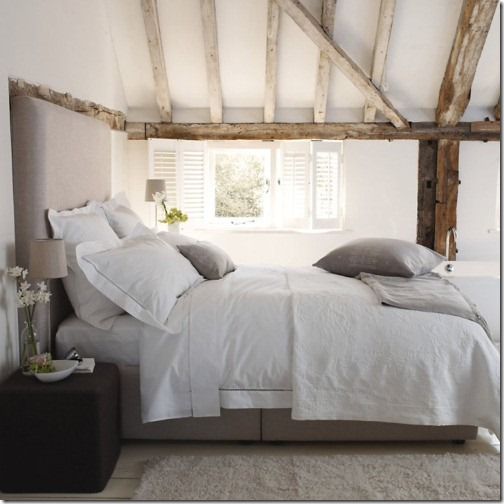 white and greige bedroom modern headboard via pinterest