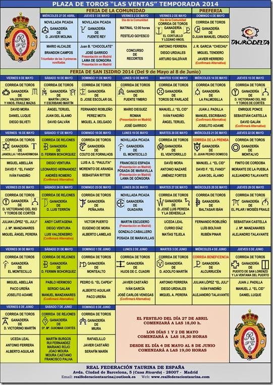 Real Federacion Taurina de España. Carteles Ferias Mayo. 2014 (3) copia