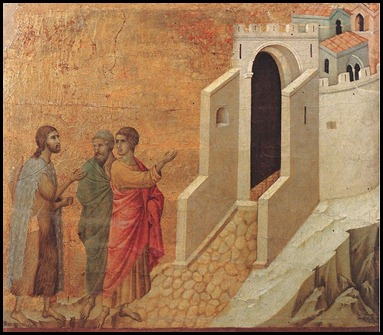 Road to Emmanus by Duccio di Buoninsegna 1308-1311