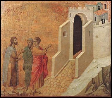 Road to Emmanus by Duccio di Buoninsegna 1308-1311
