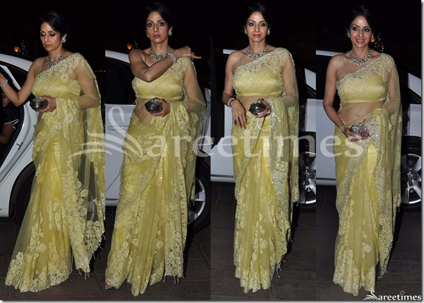 Sridevi_Yellow_Lace_Saree
