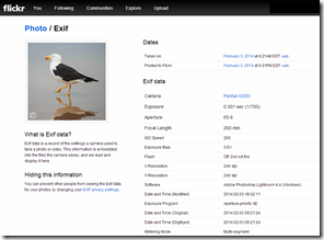 exif details are dispalyed correctly inside flickr