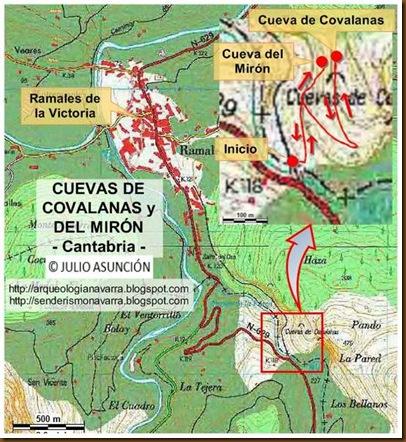 Mapa Cueva de Covalanas y Cueva del Mirón - Cantabria