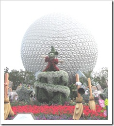 Florida vacation Epcot topiary Mickey in front of ball