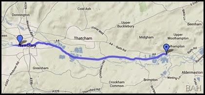 Map Woolhampton to Newbury