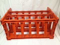 Three piece orange plastic wine rack set