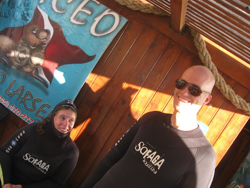 Suiting up to snorkel with sea lions.