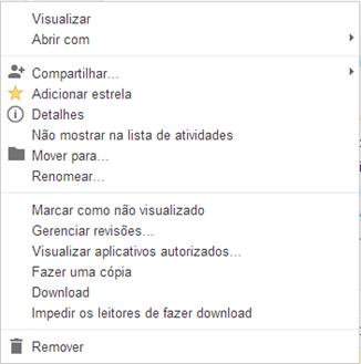 Opções do arquivo - Google Drive