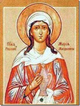 Maria Madalena em ícone da Igreja Ortodoxa Russa, carregando mirra para ungir o corpo morto de Jesus