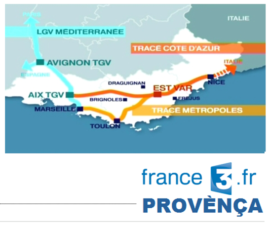 Mapa LGV publicada per France 3 Provènça