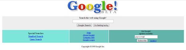 google en 1998 beta