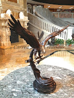 Bronze Statuary, Table-Top Size Eagle Sculpture Wings Spread