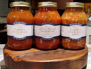 #LCPLC3180 32oz Tomato Basil Soup $13.00 #LCPLC3140 32oz Spicy Peach Gazpacho $13.00 #LCPLC3100  32ozGarden Vegetable Soup $13.00