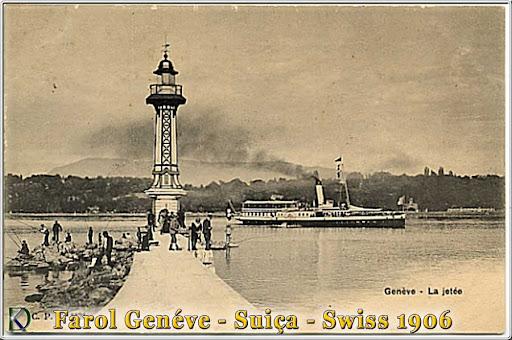 Antike Postkarte Leuchtturm Genf Schweiz, 1906