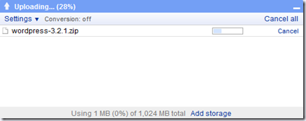 Upload zip files on google docs